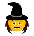 sad witch emoji icon vector image vector image