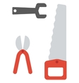 Saw pruner and wrench vector image