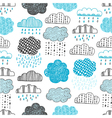 seamless pattern of hand drawn doodle clouds vector image