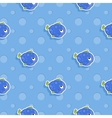 seamless sea pattern with smiling blue fish vector image vector image