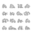 Set line icons of tractors vector image vector image
