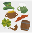 set of st patricks day icons isolated on white vector image