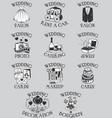 set wedding pictograms black outline vector image