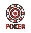 sign poker red and white chip flat design vector image