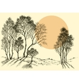 Sunset in the forest Trees wallpaper Landscape vector image vector image
