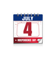 us independence day calendar 4 july vector image vector image