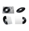 vinyl disc and turntable realistic mockups set vector image