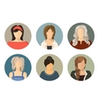 women circle avatar icon set vector image vector image