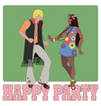 young couple wearing hippie clothes 60s vector image