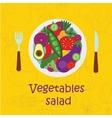 Poster salad mix pour into a bowl vector image