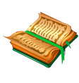 ancient book with parchment sheets and green cover vector image vector image