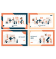 art gallery people visitor landing page set vector image