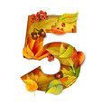 autumn stylized alphabet with foliage digit5 vector image vector image