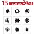 black sun icons set vector image vector image