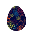 Blue Egg With Flower Pattern vector image