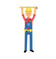 builder character in overalls with belt with tools vector image vector image