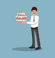 businessman with a cake at work flat design vector image vector image