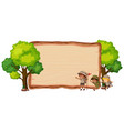 camping kids on wooden banner vector image vector image