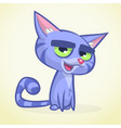 cartoon of blue cat vector image vector image