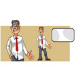 cartoon puzzled man in shirt with tie and blank vector image vector image