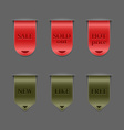 Collection of red and green retro ribbons vector image vector image