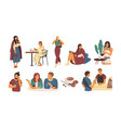 collection people with hot beverage isolated on vector image
