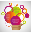 Colored circles out of cardboard boxes with space vector image vector image