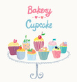 Cupcakes and bakery funny card vector image vector image