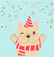cute funny french bulldog with confetti christmas vector image