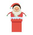 cute santa claus in chimney christmas character vector image vector image