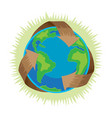 earth day recycle symbol around green planet vector image vector image