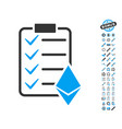 ethereum smart contract icon with bonus symbols vector image vector image
