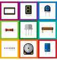 flat icon technology set of bobbin hdd vector image vector image