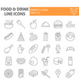 food and drink thin line icon set meal symbols vector image vector image