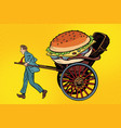 food delivery rickshaw and cart vector image
