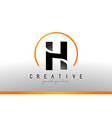 h letter logo design with black orange color cool vector image vector image
