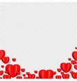 hearts border isolated transparent background vector image vector image