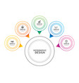 infographics circle thin line with 5 data vector image vector image
