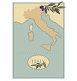 italy map with olives branches and olive leaves vector image