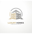luxury homes elegant line art logo vector image