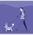 man with dog flat vector image vector image