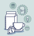 milk in box with set food vector image vector image