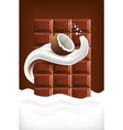milk splash tongue with coconut and chocolate vector image vector image