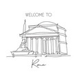 one single line drawing pantheon landmark iconic vector image vector image