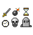 Pixel art 8 bit objects skull and bomb grave and