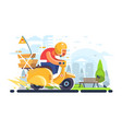 pizza delivery man on scooter flat poster vector image vector image