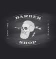 poster barber shop label on black chalkboard vector image