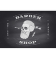 Poster of Barber Shop label on black chalkboard vector image
