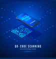 qr code scan isometric concept mobile phone vector image vector image