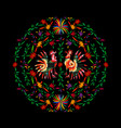 round ethnic mexican embroidery background vector image vector image